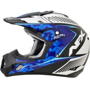 AFX Pearl White/Blue/Light Blue Complex FX-17 Factor Helmet - 0110-4545