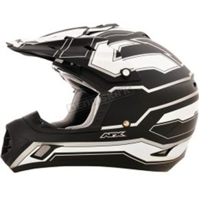 AFX Flat Black/White FX-17 Works Helmet - 0110-4602