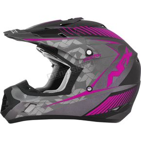 AFX Frost Gray/Fuchsia FX-17 Youth Factor Helmet - 0111-1006