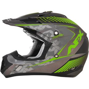 AFX Frost Gray/Green FX-17 Youth Factor Helmet - 0111-1009