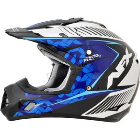 AFX Pearl White/Blue/Light Blue FX-17 Youth Complex Factor Helmet - 0111-1020