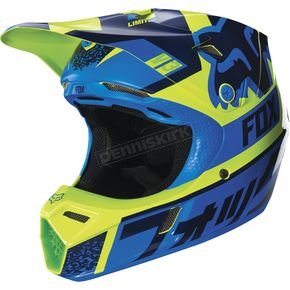 Fox Youth Blue/Green V3 Helmet - 15821-071-S