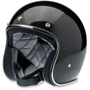Biltwell Gloss Black/Gold Mini Flake Bonanza Helmet - BH-BGD-GLMIN-MD