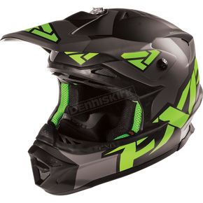 FXR Racing Matte Charcoal/Green Blade Clutch Solid Helmet - 15405.20707