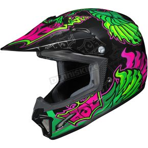 HJC Youth Green/Black/Pink CL-XY 2 Eye Fly MC-4 Helmet - 57-5048