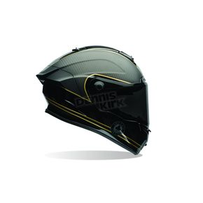 Bell Helmets Matte Black/Gold Ace Cafe Speed Check Race Star Helmet - 7069585