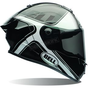 Bell Helmets Gloss Black/White Tracer Race Star Helmet - 7069643