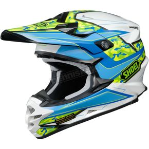 Shoei Helmets Teal/White/Yellow VFX-W Turmoil TC-2 Helmet - 0145-8902-07