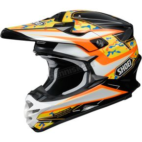Shoei Helmets Black/White/Orange VFX-W Turmoil TC-8 Helmet - 0145-8908-08