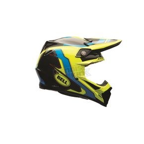Bell Helmets Blue/Yellow Factory Moto-9 Carbon Flex Helmet - 7073685