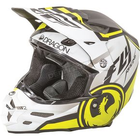 Fly Racing Matte White/Black/Hi-Vis Yellow F2 Carbon Dragon Helmet - 73-4042M