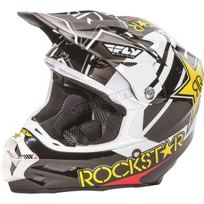 Fly Racing Black/White/Yellow F2 Carbon Rockstar Helmet - 73-4075XS