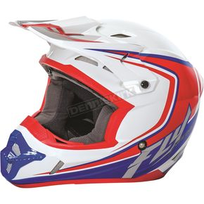 Fly Racing White/Red/Blue Kinetic Fullspeed Helmet - 73-3373L