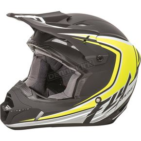 Fly Racing Matte Black/Hi-Vis Kinetic Fullspeed Helmet - 73-3375XS