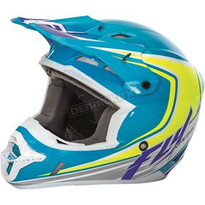 Fly Racing Blue/Hi-Vis/White Kinetic Fullspeed Helmet - 73-33762X