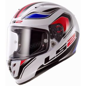 LS2 White/Black/Red/Blue Geo Arrow Full Face Helmet - 323-1112