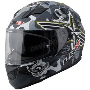 LS2 Black/Grey/Green/White Veteran 2 Stream FF328 Full Face Helmet with Sunshield - 328-1204