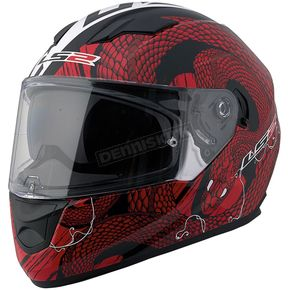 LS2 Red/Black/White Snakebite Stream FF328 Full Face Helmet with Sunshield - 328-1304