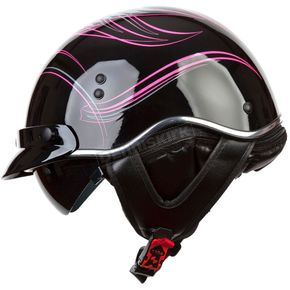 LS2 Womens Black/Pink/Gray SC3 Crazy SC3 Half Helmet with Sunshield - 566-1224
