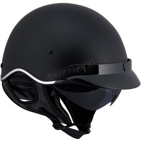 LS2 Matte Black SC3 Half Helmet with Sunshield - 566-1255