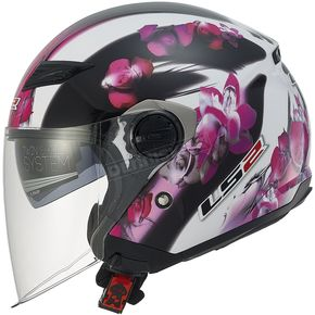 LS2 Womens Pink/White/Black Floral OF569 Track Helmet with Sunshield - 569-3101