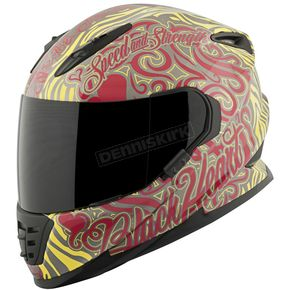Speed and Strength Red/Yellow Black Heart SS1310 Helmet - 874874