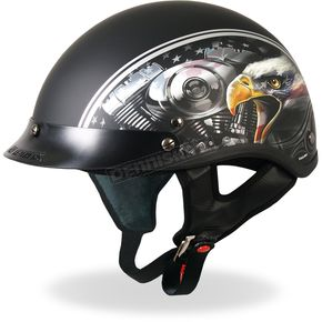 Hot Leathers Matte Black American Eagle Helmet - HLD1023XL