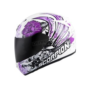 Scorpion White/Purple EXO-R410 Novel Helmet - 41-10796