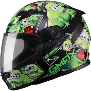 GMax Youth Black/Green GM49Y Attack Street Helmet - G7494220