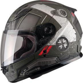 GMax Youth Flat OD Green/Black/Red GM49Y Trooper Street Helmet - G7495712 TC-3F