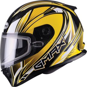 GMax Yellow/White/Black FF49 Sektor Snowmobile Helmet - 72-6305M