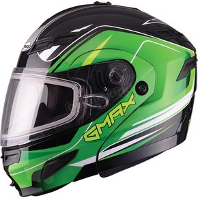 GMax Black/Green GM54S Terrain Modular Snowmobile Helmet - 72-6144X