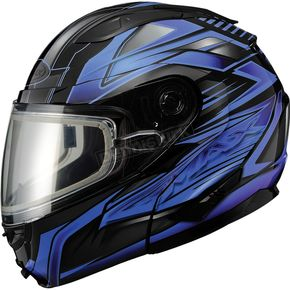 GMax Black/Blue GM64S Carbide Modular Snowmobile Helmet w/Dual Lens Shield - 72-6262S