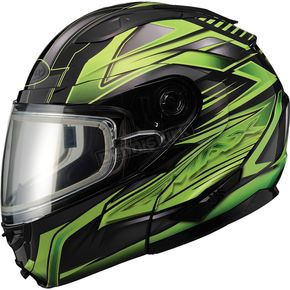 GMax Black/Green GM64S Carbide Modular Snowmobile Helmet w/Dual Lens Shield - 72-6264S