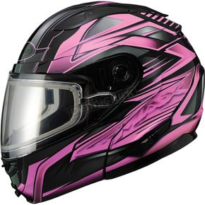 GMax Black/Pink GM64S Carbide Modular Snowmobile Helmet w/Dual Lens Shield - 72-6269X