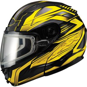 GMax Black/Yellow GM64S Carbide Modular Snowmobile Helmet w/Dual Lens Shield - 72-6265S