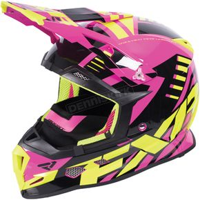 FXR Racing Electric Pink/Hi-Vis/Black Boost Revo Helmet - 170607-9465-04