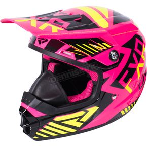 FXR Racing Youth Electric Pink/Hi-Vis/Black Throttle Battalion Helmet - 170668-9465-07