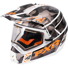 FXR Racing Gray Urban Camo/White/Orange Torque X Squadron Helmet w/Electric Shield - 170613-0601-10