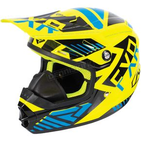 FXR Racing Youth Hi-Vis/Blue/Black Throttle Battalion Helmet - 170668-6540-10