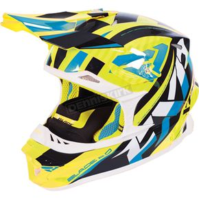 FXR Racing Hi-Vis/Navy/Blue Blade Throttle Helmet - 170603-6545-19
