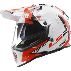 LS2 White/Red/Black Pioneer Trigger Helmet - 436-3001
