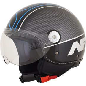 AFX Gloss Black/Blue Veloce FX-33 Scooter Helmet - 0106-0711