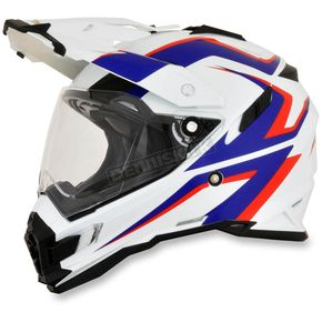 AFX White/Blue/Red FX-41DS Dual Sport AT Helmet - 0110-4979