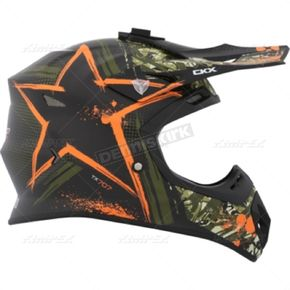CKX Matte Green/Orange TX 707 Carbon Fiber Helmet - 504725