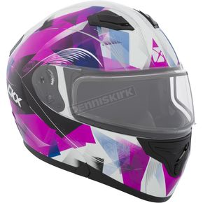 CKX Pink/Black/White Flex RSV Flake Snow Modular Helmet w/Electric Shield - 506003