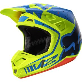 Fox Yellow/Blue V2 Nirv Helmet - 17371-586-M