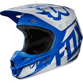 Fox Blue V1 Race Helmet - 17343-002-2X