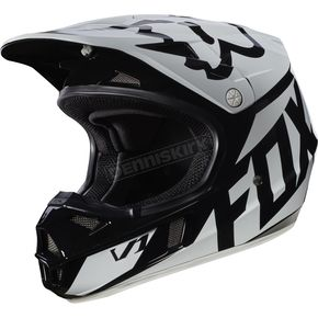 Fox Youth Black V1 Race Helmet - 17396-001-L