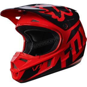 Fox Youth Red V1 Race Helmet - 17396-003-M
